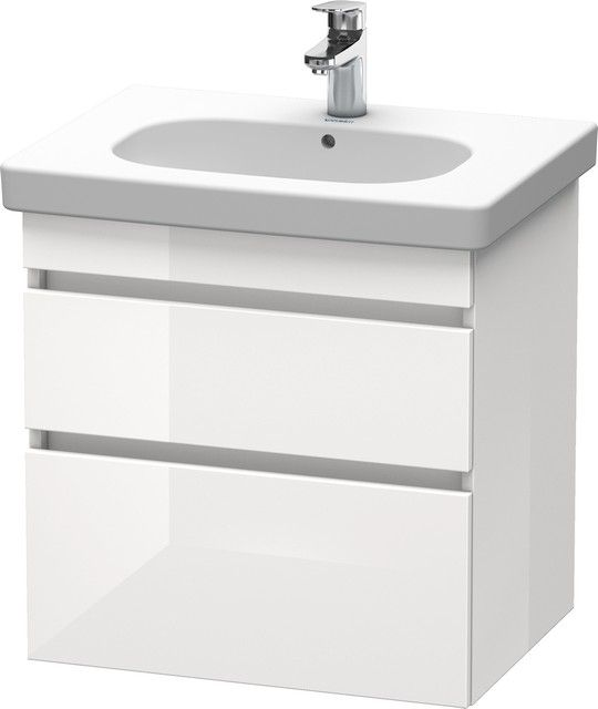 Duravit DuraStyle Waschtischunterschrank wandhängend B:60xH:61xT:45,3cm 2 Schubkästen basalt matt, weiß matt DS648304318