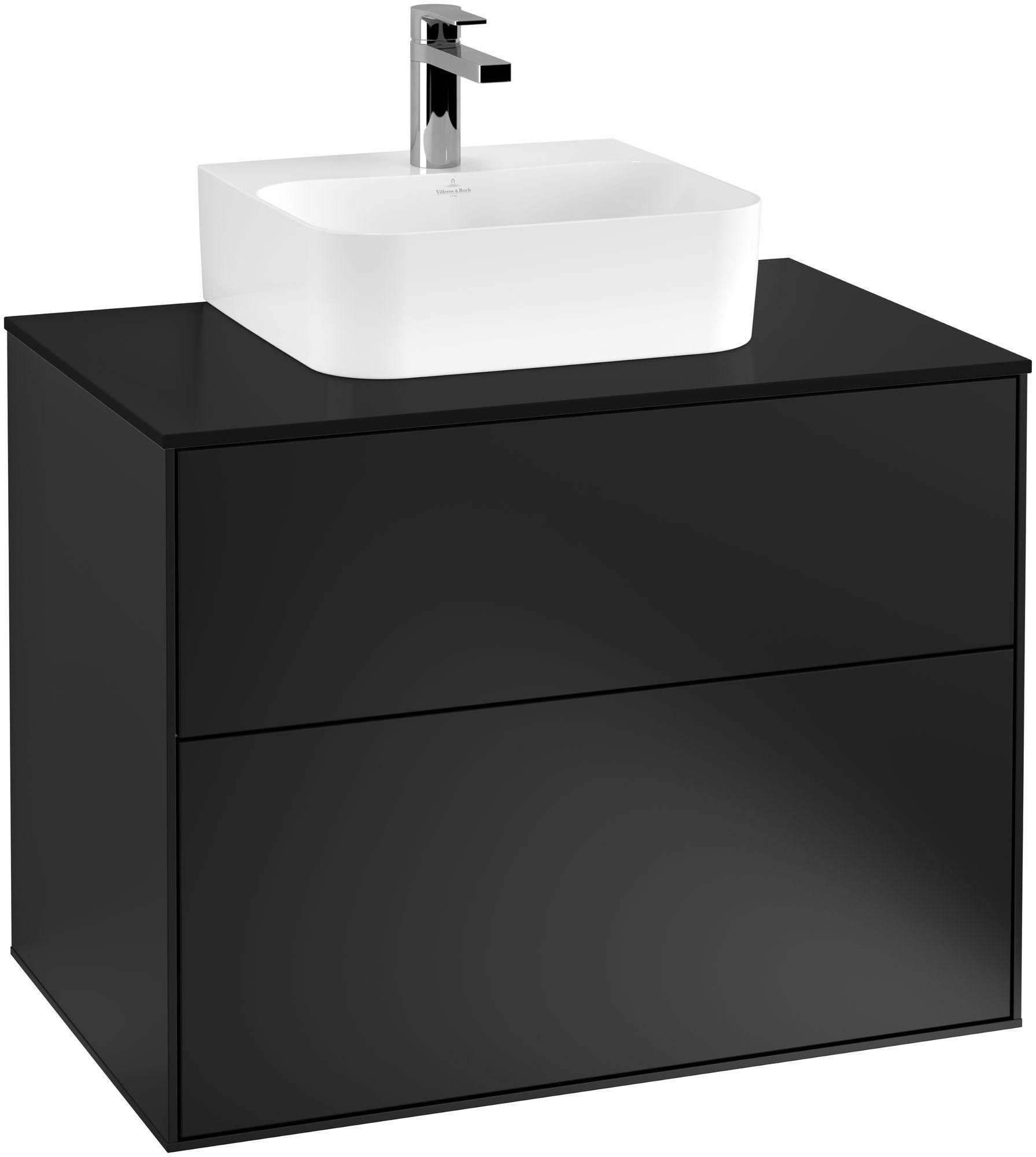 Villeroy & Boch Finion G08 Waschtischunterschrank 2 Auszüge Waschtisch mittig LED-Beleuchtung B:80xH:60,3xT:50,1cm Front, Korpus: Black Matt Lacquer, Glasplatte: Black Matt G08200PD