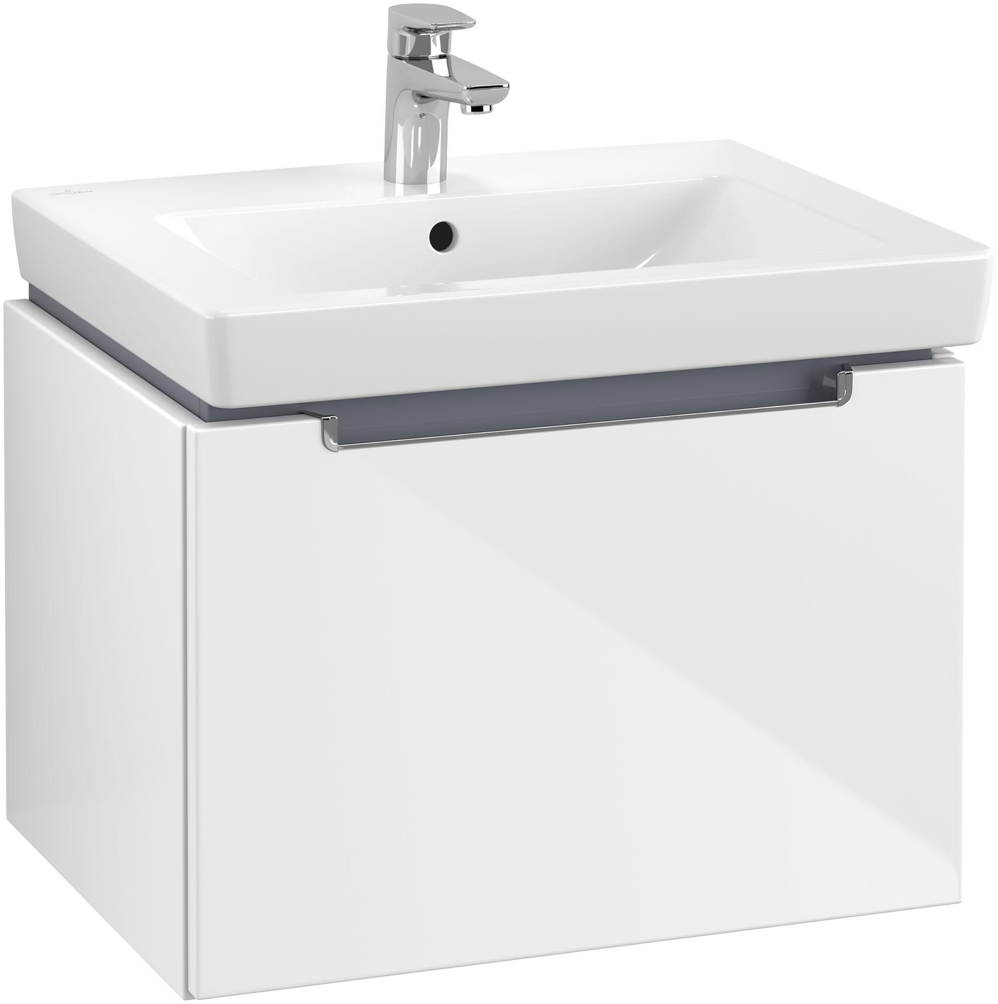 Villeroy & Boch Subway 2.0 Waschtischunterschrank 1 Auszug B:587xT:454xH:420mm glossy weiß Griffe chrom A68710DH
