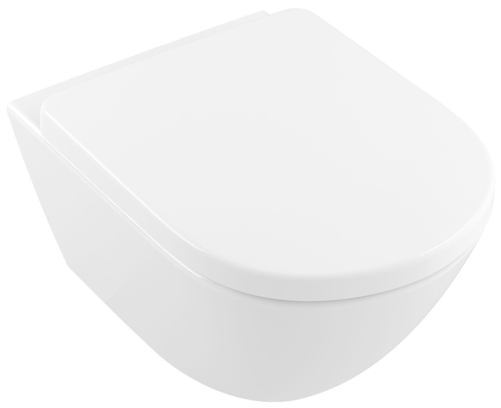 Villeroy & Boch Subway 2.0 Comfort Wand-Tiefspül-WC spülrandlos L:58xB:41cm DirectFlush mit offenem Spülrand weiß mit CeramicPlus 4609R0R1