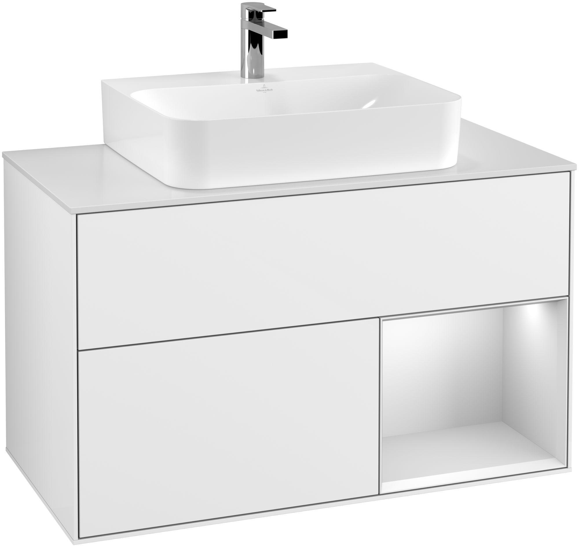 Villeroy & Boch Finion F12 Waschtischunterschrank mit Regalelement 2 Auszüge für WT mittig LED-Beleuchtung B:100xH:60,3xT:50,1cm Front, Korpus: Glossy White Lack, Regal: Weiß Matt Soft Grey, Glasplatte: White Matt F121MTGF