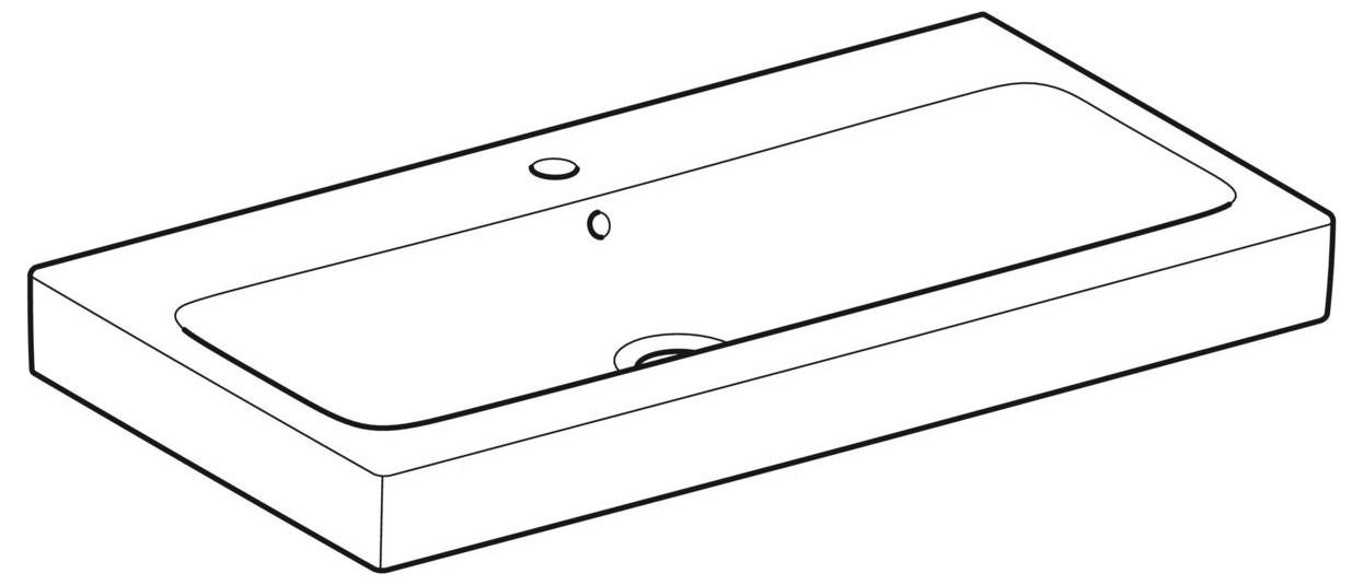 Geberit Keramag iCon Waschtisch B:90xT:48,5cm 1 Hahnloch mit Überlauf weiß 124090000