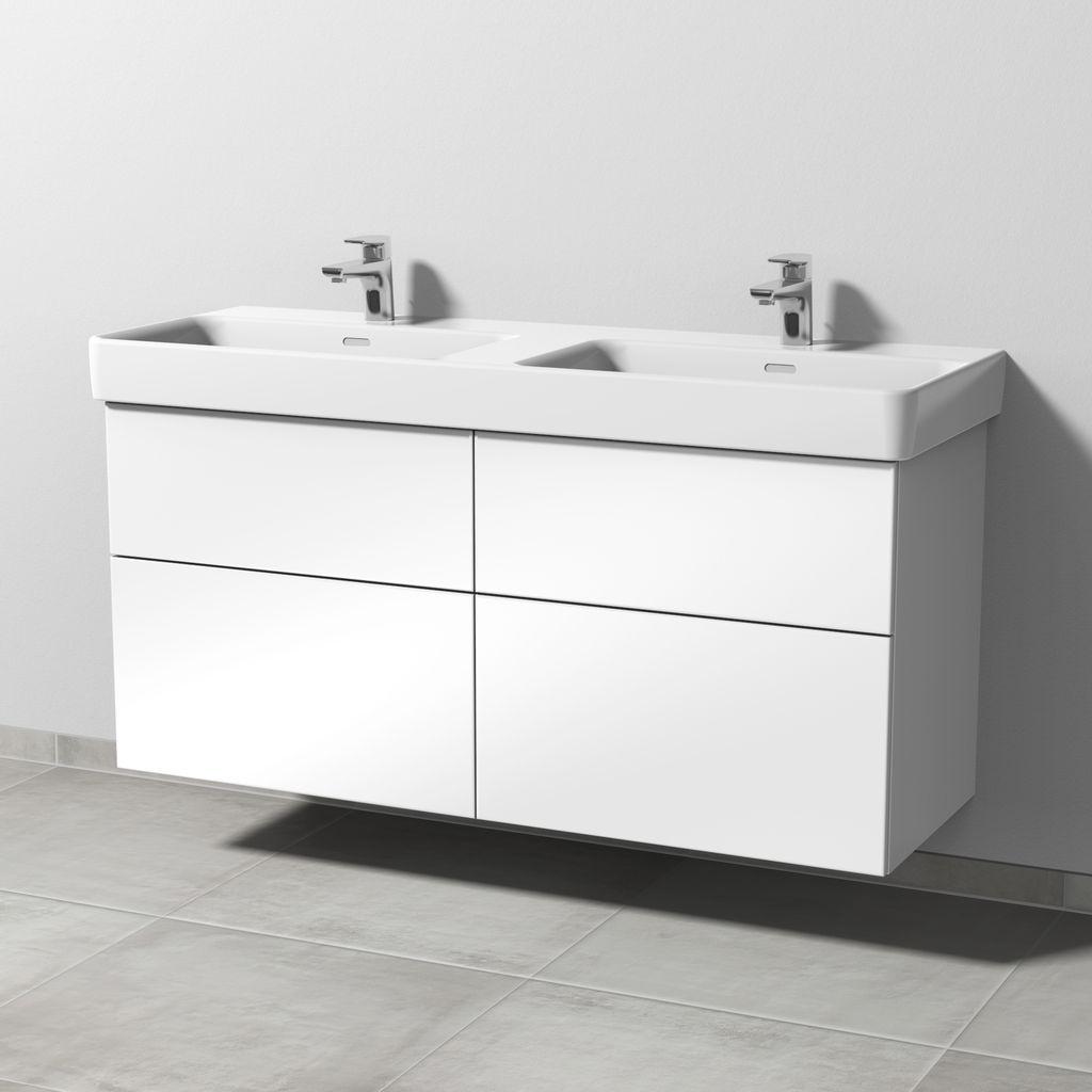 Sanipa 3way Waschtischunterbau mit Auszügen (SF771) H:59,3xB:125xL:43,7cm Weiß-Glanz SF77178