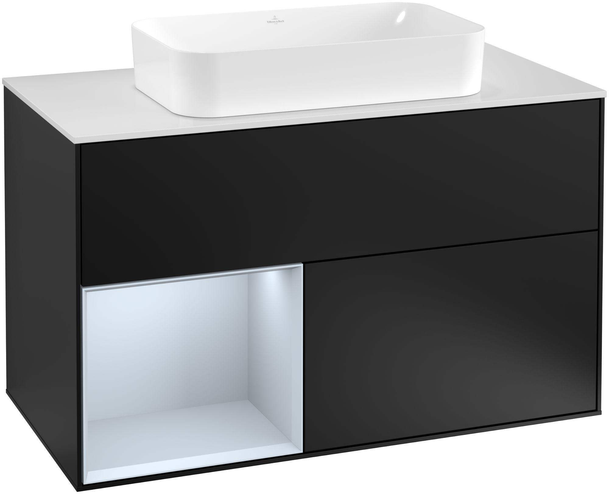 Villeroy & Boch Finion G24 Waschtischunterschrank mit Regalelement 2 Auszüge Waschtisch mittig LED-Beleuchtung B:100xH:60,3xT:50,1cm Front, Korpus: Black Matt Lacquer, Regal: Cloud, Glasplatte: White Matt G241HAPD