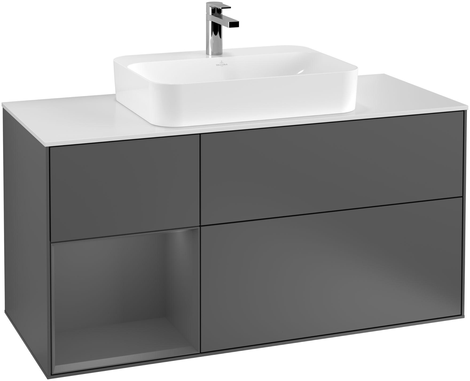 Villeroy & Boch Finion F41 Waschtischunterschrank mit Regalelement 3 Auszüge Waschtisch mittig LED-Beleuchtung B:120xH:60,3xT:50,1cm Front, Korpus: Anthracite Matt, Glasplatte: White Matt F411GKGK
