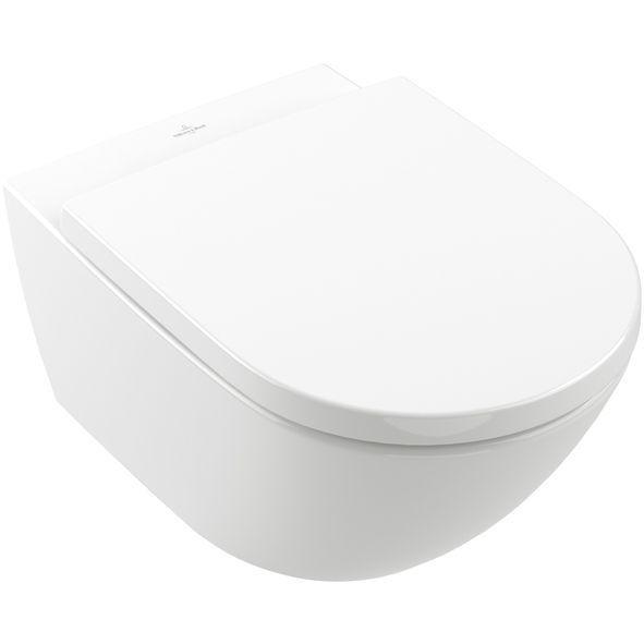 Villeroy & Boch Subway 3.0 Tiefspül-WC 37x56x36cm oval wandhängend mit TwistFlush Weiß mit Antibac mit CeramicPlus 4670T0T2