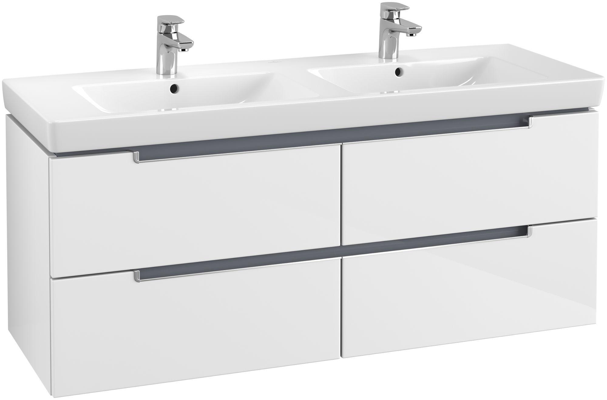 Villeroy & Boch Subway 2.0 Waschtischunterschrank 4 Auszüge B:1287xT:449xH:524mm glossy weiß Griffe silberfarbig matt A69900DH