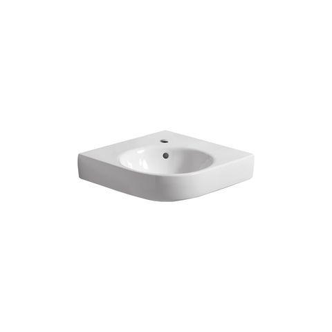 Geberit Keramag Renova Compact Eck-Handwaschbecken B:50xT:50cm 1 Hahnloch mit Überlauf weiß mit KeraTect 226150600