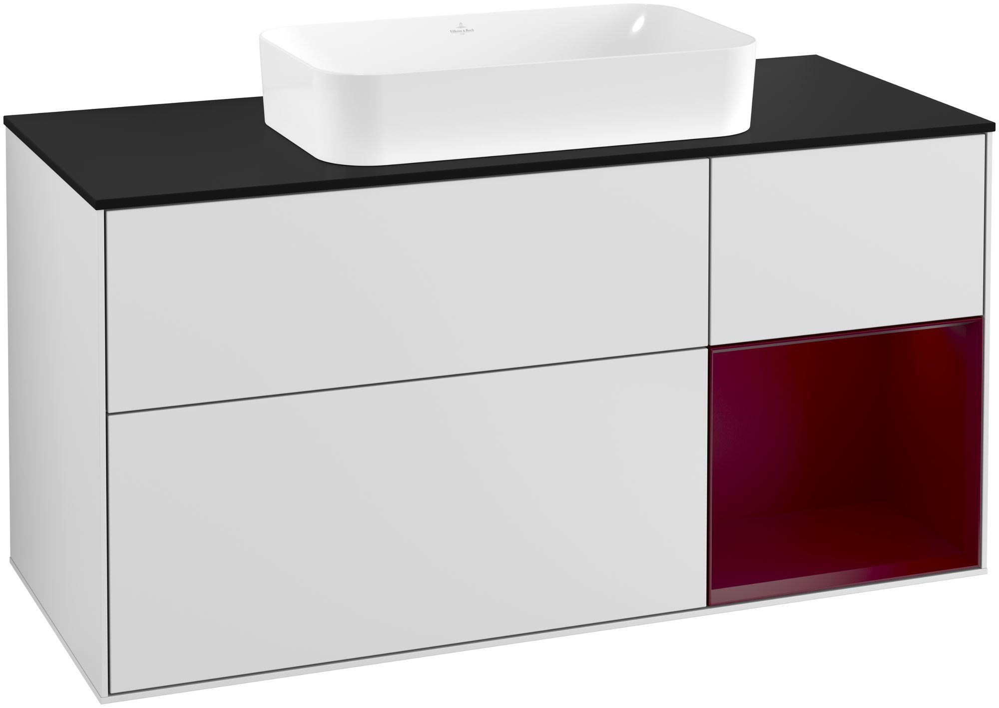 Villeroy & Boch Finion F30 Waschtischunterschrank mit Regalelement 3 Auszüge Waschtisch mittig LED-Beleuchtung B:120xH:60,3xT:50,1cm Front, Korpus: Weiß Matt Soft Grey, Regal: Peony, Glasplatte: Black Matt F302HBMT