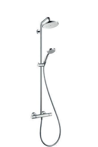 Hansgrohe Croma 220 27185000 Showerpipe für Dusche mit Thermostat chrom