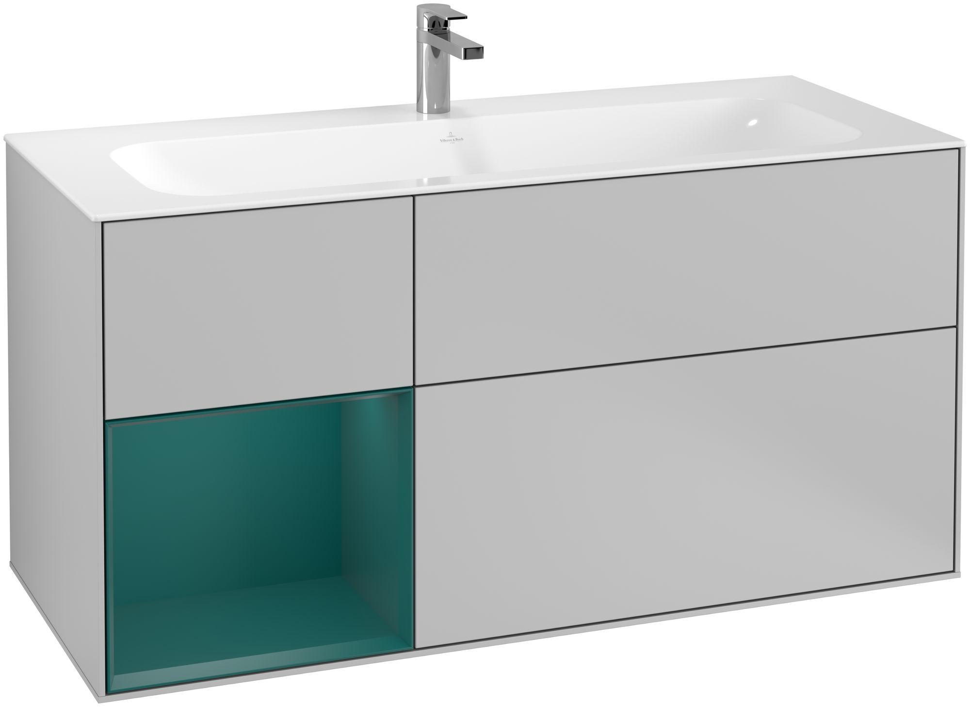 Villeroy & Boch Finion F06 Waschtischunterschrank mit Regalelement 3 Auszüge LED-Beleuchtung B:119,6xH:59,1xT:49,8cm Front, Korpus: Light Grey Matt, Regal: Cedar F060GSGJ