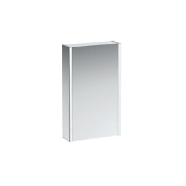Laufen Frame 25 Spiegelschrank Anschlag links mit Ambiente Licht unten B:45xH:75xT:15cm Seitenteile weiß glänzend H4083519001451