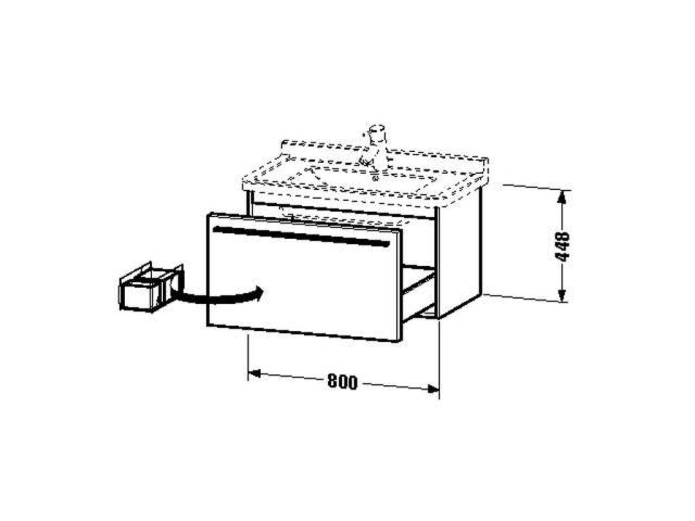 Duravit X-Large Waschtischunterschrank wandhängend B:80xH:44,8xT:46,8cm 1 Auszug weiß matt XL605701818