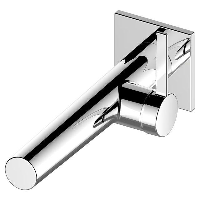 Keuco IXMO Einhebel-Waschtischmischer eckig Wandmontage Ausladung 219 mm Aluminium-finish 59516171102