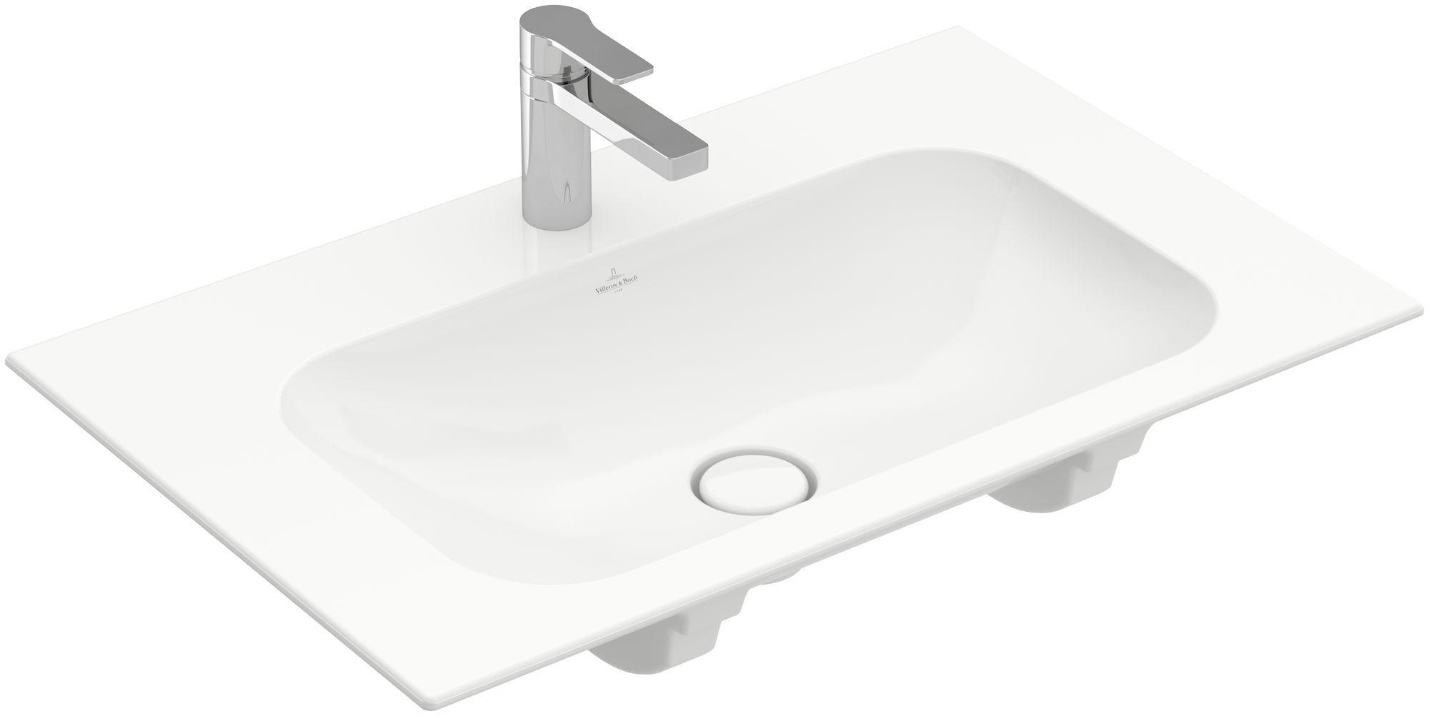 Villeroy & Boch Finion Schrankwaschtisch ohne Überlauf 1 Hahnloch B:80xT:50cm ohne Überlauf 1 Hahnloch weiß Ceramicplus 416481R1