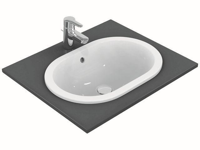Ideal Standard Connect Einbauwaschtisch oval B:48xT:35cm ohne Hahnloch mit Überlauf weiß mit Ideal Plus E5045MA