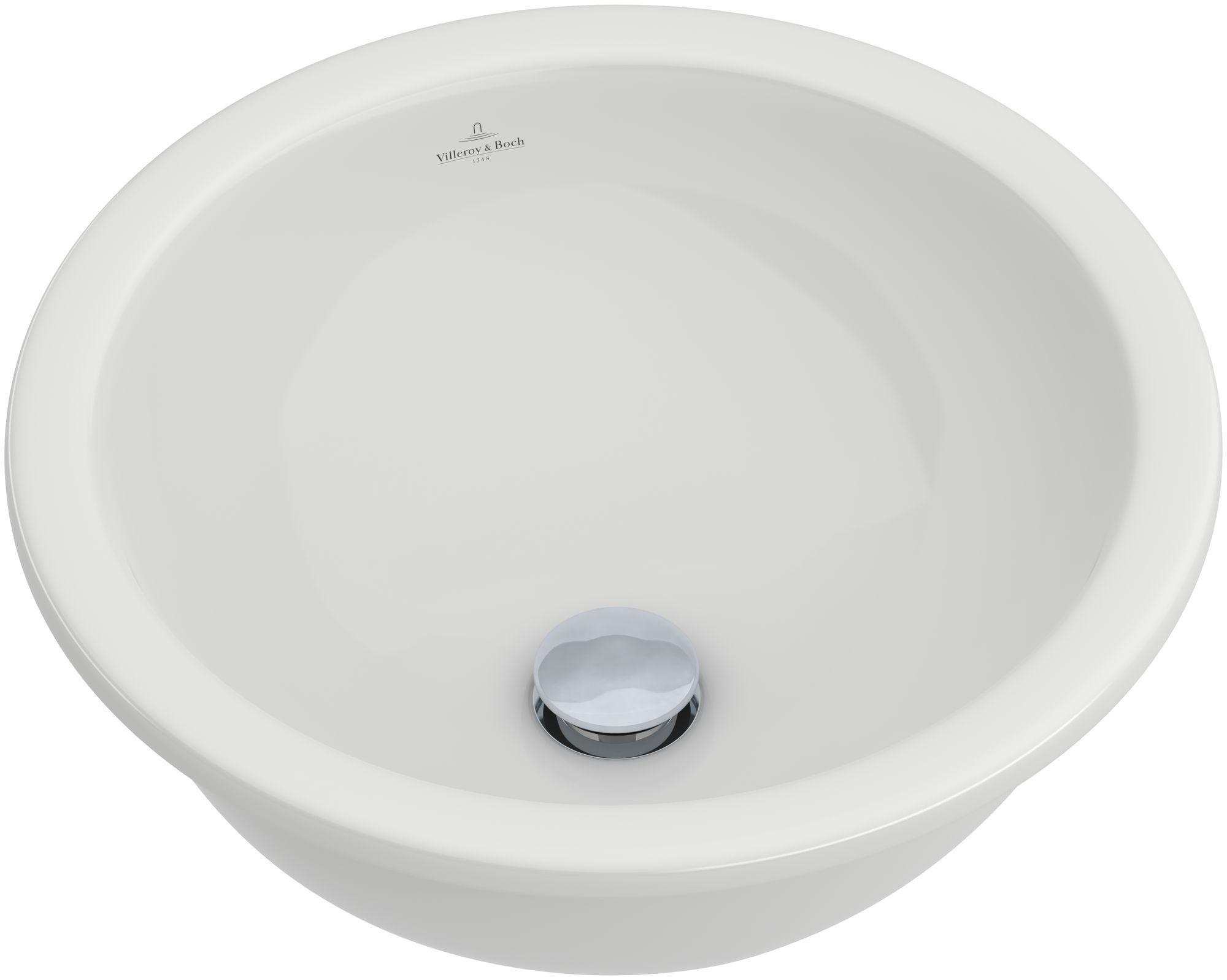 Villeroy & Boch Loop & Friends Unterbauwaschtisch rund DM:38cm ohne Hahnloch ohne Überlauf weiß mit Ceramicplus 618138R1