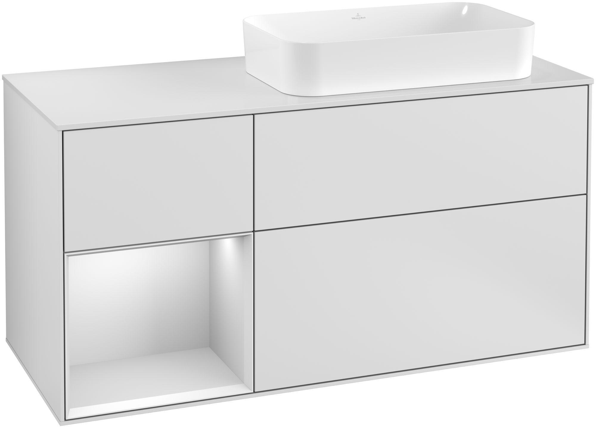 Villeroy & Boch Finion F27 Waschtischunterschrank mit Regalelement 3 Auszüge Waschtisch rechts LED-Beleuchtung B:120xH:60,3xT:50,1cm Front, Korpus: Weiß Matt Soft Grey, Glasplatte: White Matt F271MTMT