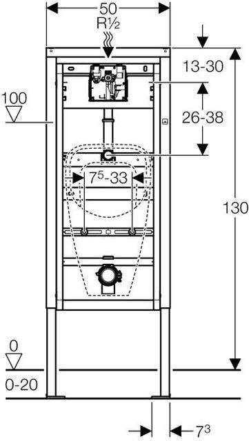 Geberit DuofixBasic Element für Urinal 130cm Universal Wandanker 458603005