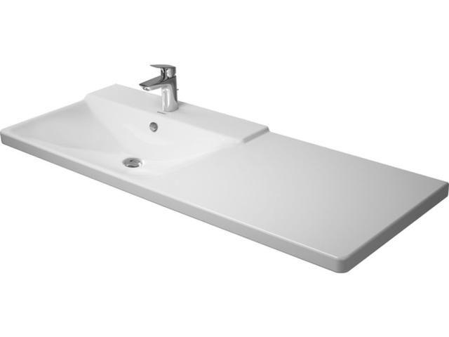 Duravit P3 Comforts Möbelwaschtisch B:125cm 1 Hahnloch mittig mit Überlauf Becken links weiß 2333120000