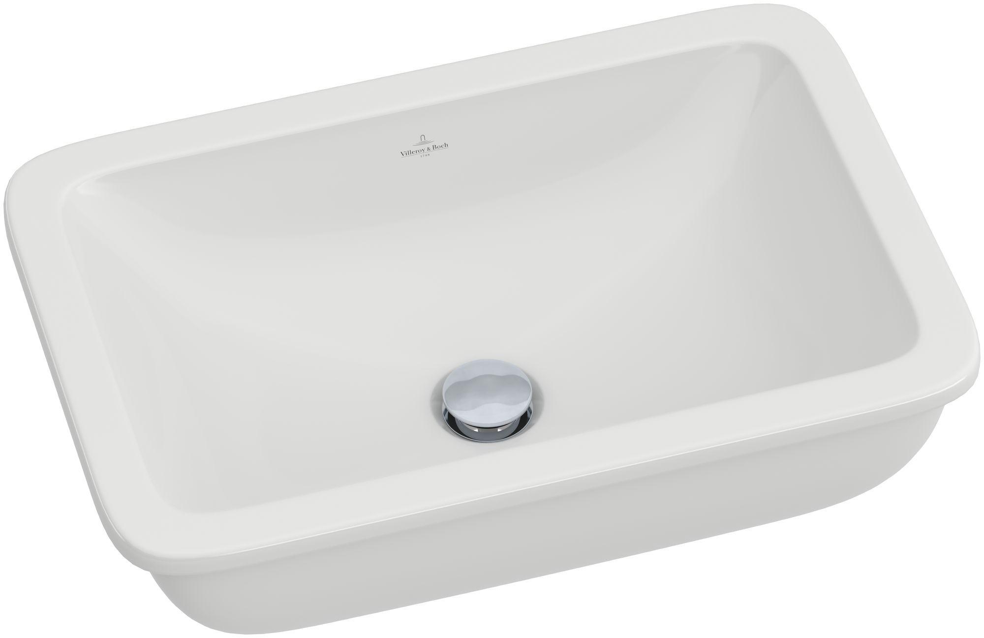 Villeroy & Boch Loop & Friends Unterbauwaschtisch B:54xT:34,5cm ohne Hahnloch ohne Überlauf weiß mit Ceramicplus 616301R1