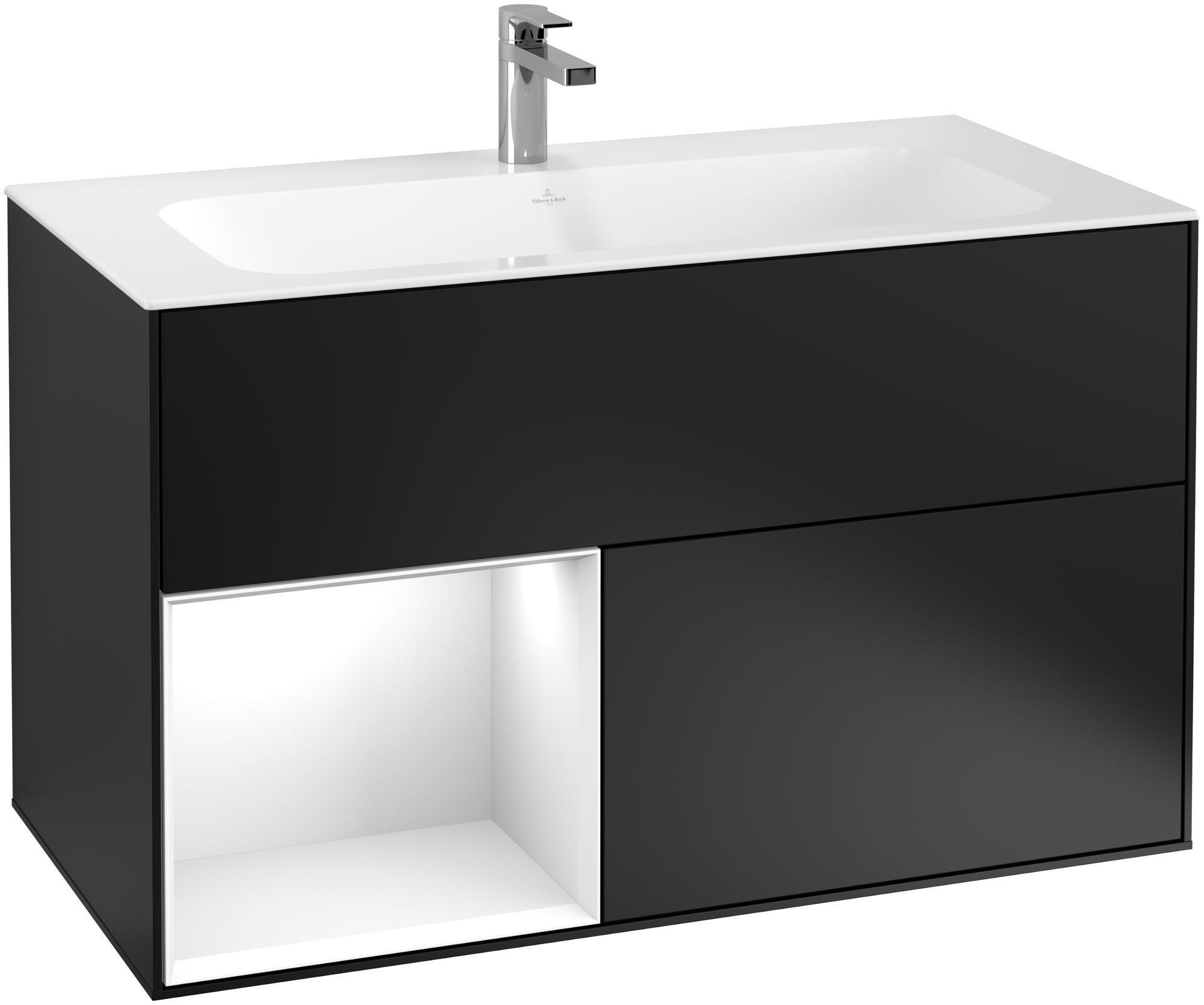 Villeroy & Boch Finion F03 Waschtischunterschrank mit Regalelement 2 Auszüge LED-Beleuchtung B:99,6xH:59,1xT:49,8cm Front, Korpus: Black Matt Lacquer, Regal: Glossy White Lack F030GFPD