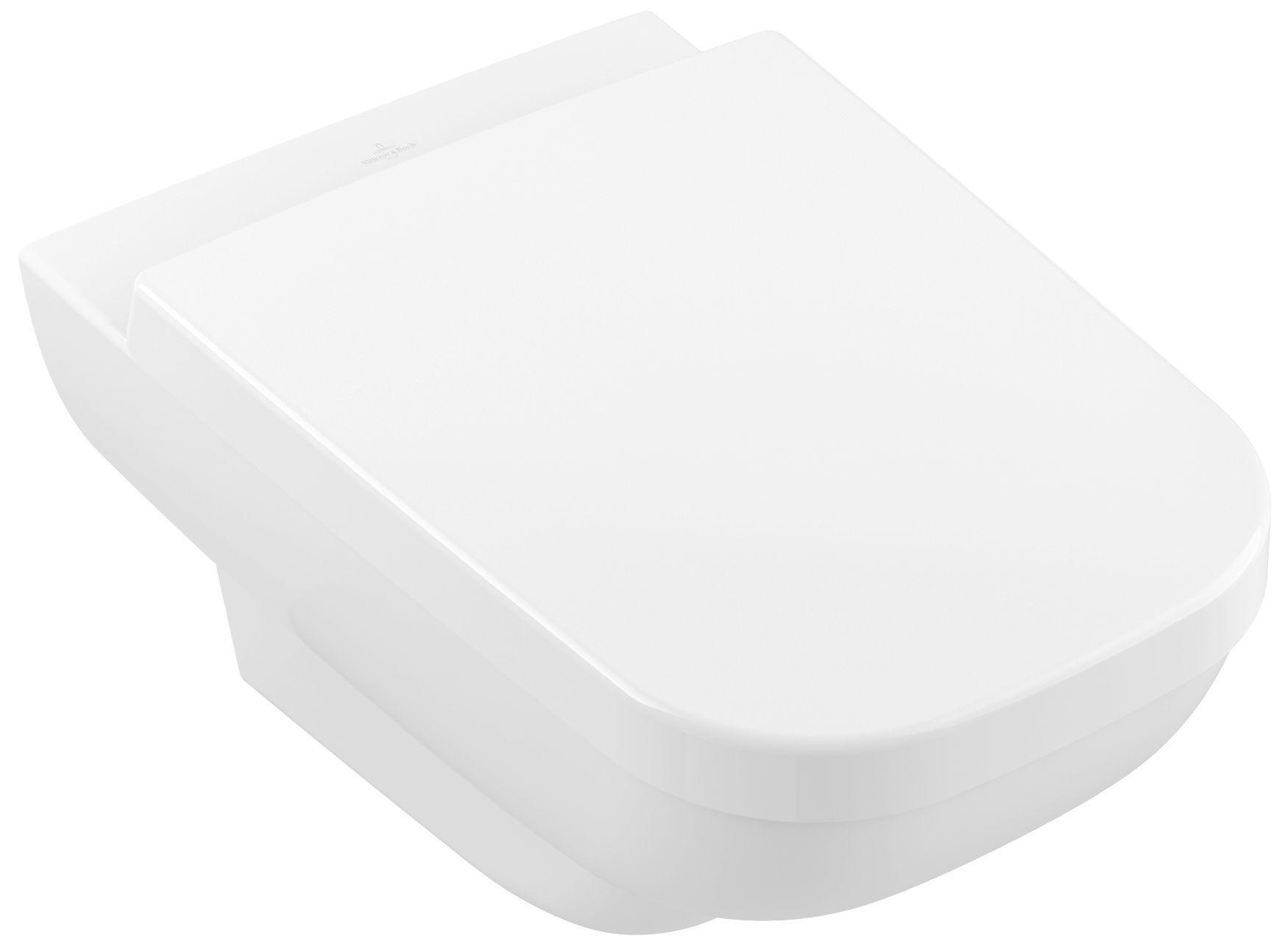 Villeroy & Boch Joyce Combi-Pack mit Wand-Tiefspül-WC DirectFlush mit offenem Spülrand L:56xB:37cm weiß mit CeramicPlus mit WC-Sitz mit Absenkautomatik 5607R2R1
