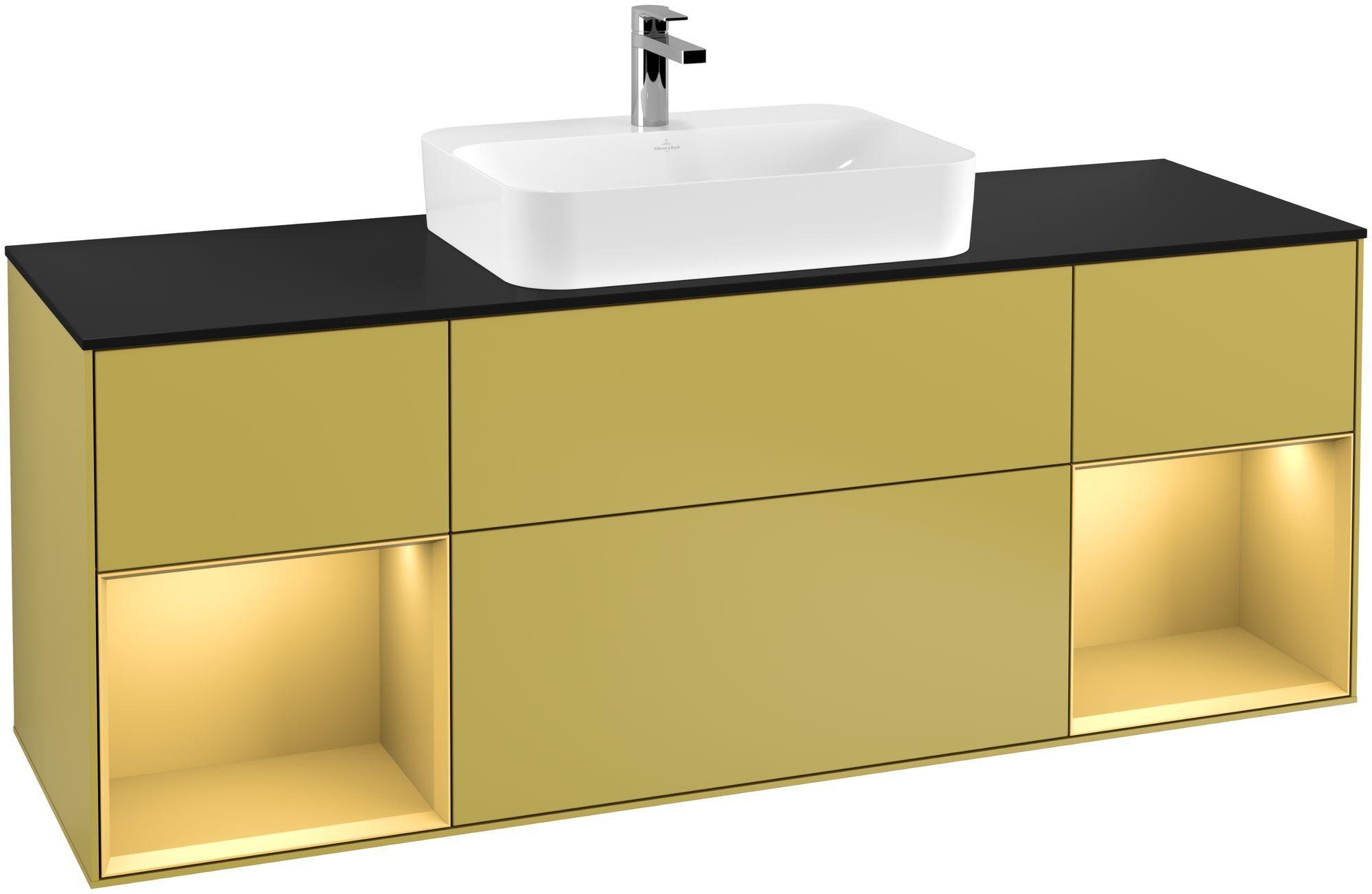 Villeroy & Boch Finion F45 Waschtischunterschrank mit Regalelement 4 Auszüge Waschtisch mittig LED-Beleuchtung B:160xH:60,3xT:50,1cm Front, Korpus: Sun, Regal: Gold Matt, Glasplatte: Black Matt F452HFHE