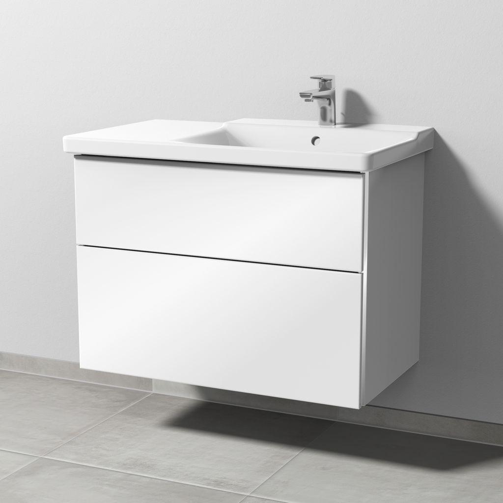 Sanipa 3way Waschtischunterschrank für Duravit P3 Comforts 233485 2 Auszüge L:59,1xB:80xT:46,7cm Eiche-Nordic BR79248