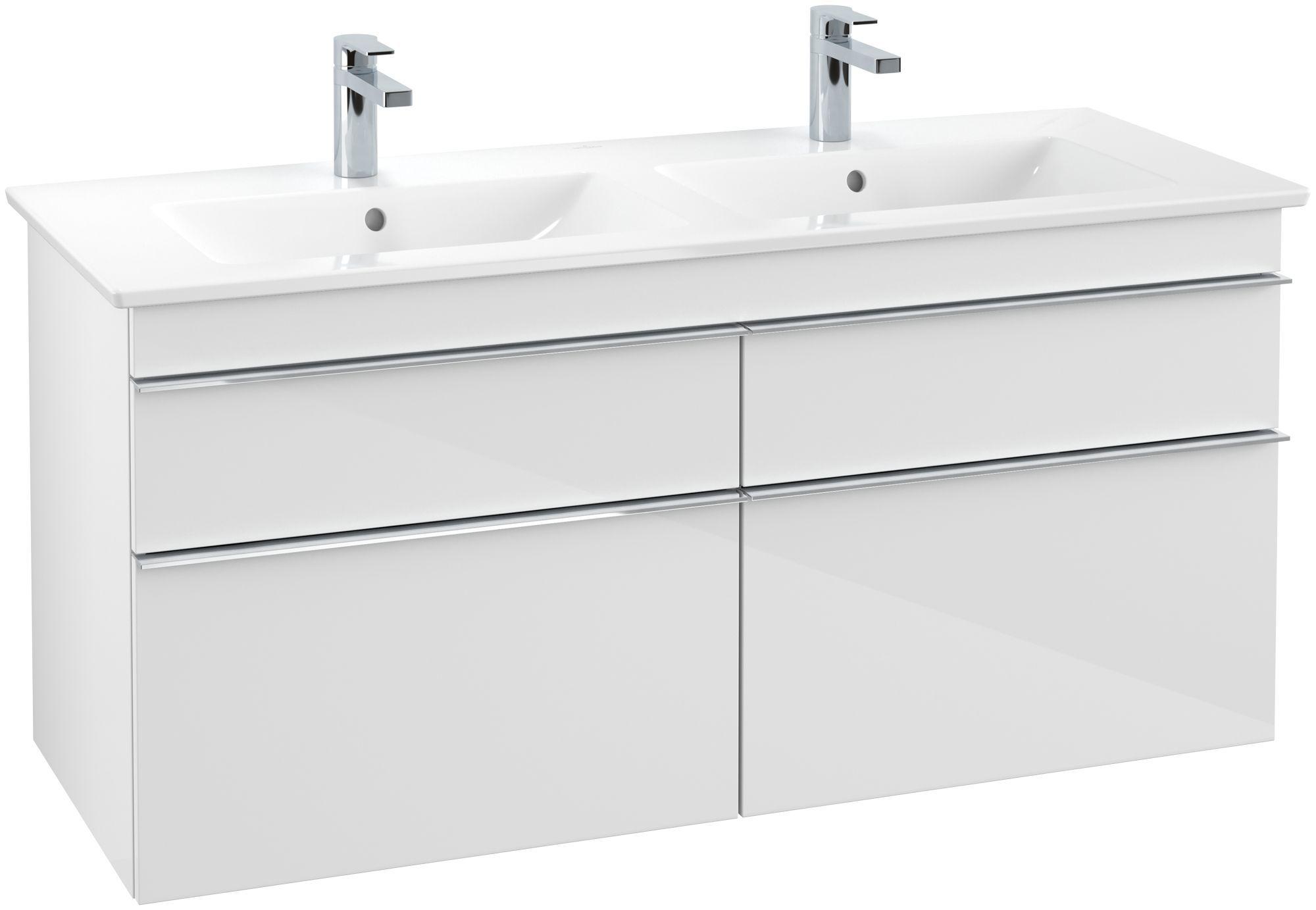 Villeroy & Boch Venticello Waschtischunterschrank 4 Auszüge B:1253xT:502xH:590mm glossy weiß Griffe chrom A93001DH