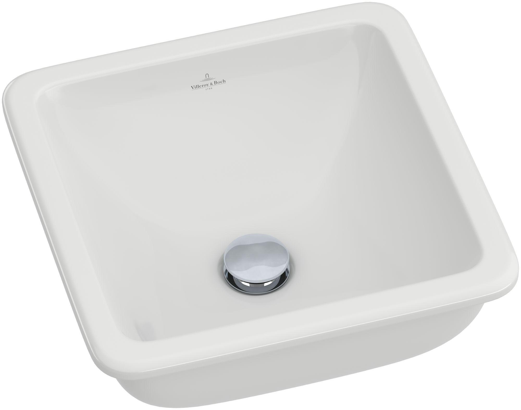 Villeroy & Boch Loop & Friends Einbauwaschtisch B:40,5xT:40,5cm ohne Hahnloch mit Überlauf weiß mit Ceramicplus 615610R1