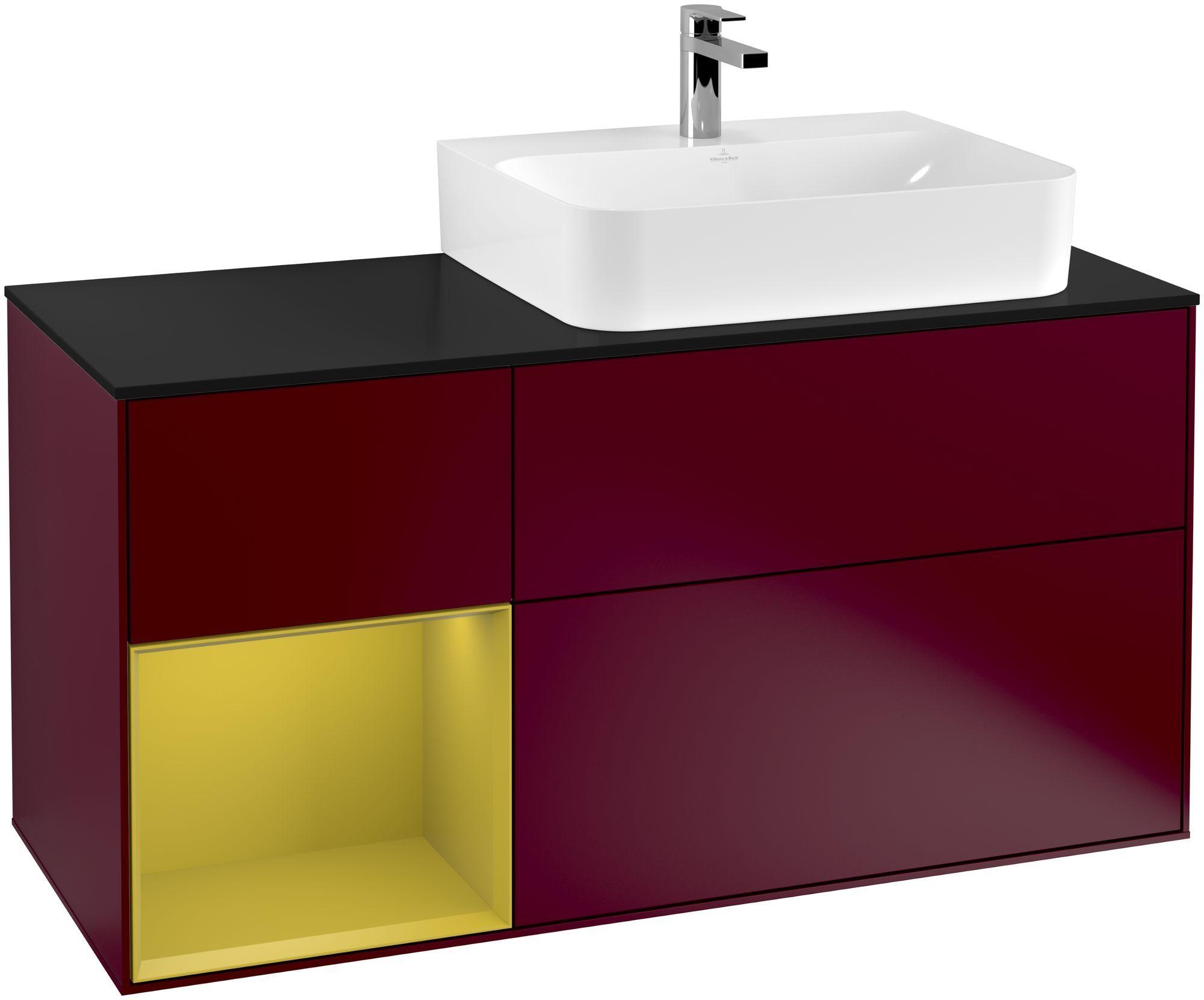 Villeroy & Boch Finion G14 Waschtischunterschrank mit Regalelement 3 Auszüge Waschtisch rechts LED-Beleuchtung B:120xH:60,3xT:50,1cm Front, Korpus: Peony, Regal: Sun, Glasplatte: Black Matt G142HEHB