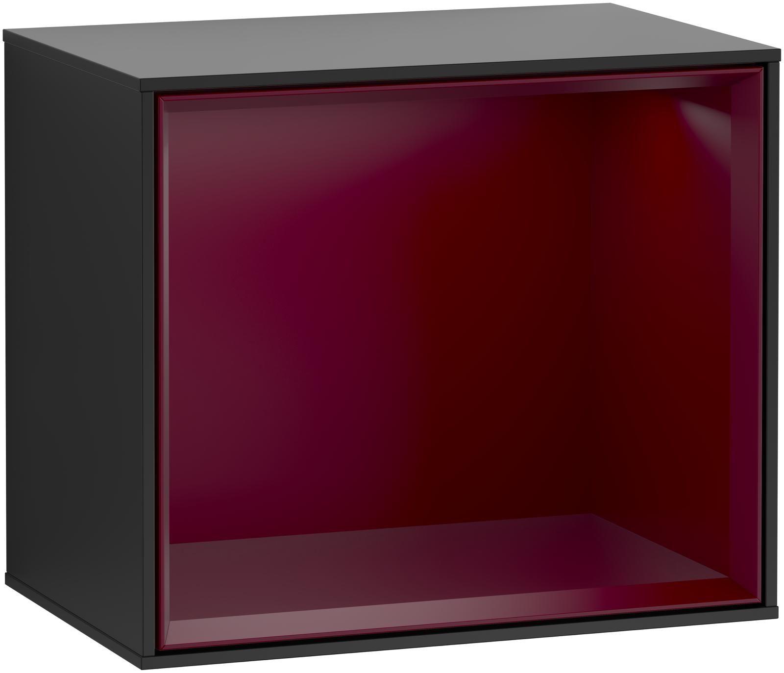 Villeroy & Boch Finion G58 Regalmodul LED-Beleuchtung B:41,8xH:35,6xT:27cm Front, Korpus: Black Matt Lacquer, Regal: Peony G580HBPD