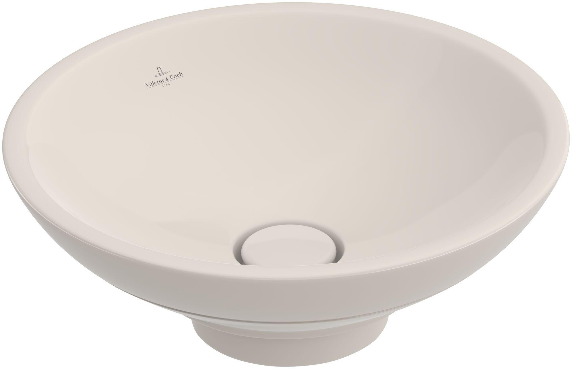 Villeroy & Boch Loop & Friends Aufsatzwaschtisch rund DM:43xH: 60cm ohne Hahnloch mit Überlauf pergamon mit Ceramicplus 411400R3