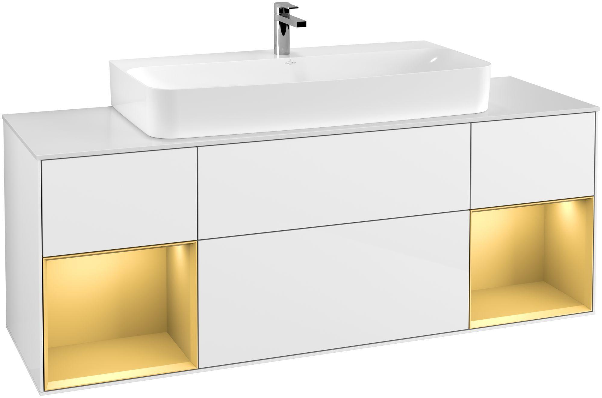 Villeroy & Boch Finion F21 Waschtischunterschrank mit Regalelement 4 Auszüge Waschtisch mittig LED-Beleuchtung B:160xH:60,3xT:50,1cm Front, Korpus: Glossy White Lack, Regal: Gold Matt, Glasplatte: White Matt F211HFGF