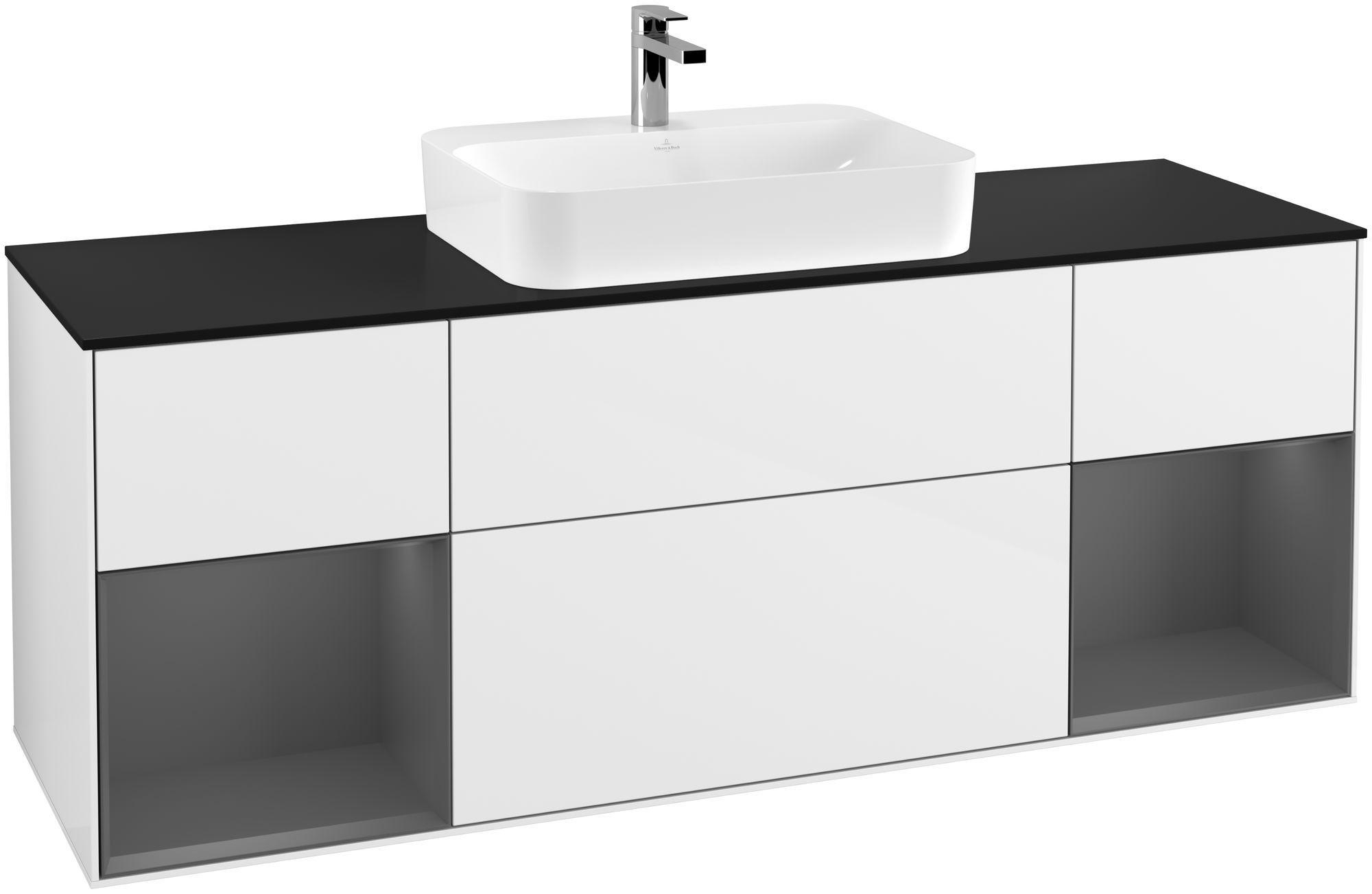 Villeroy & Boch Finion G45 Waschtischunterschrank mit Regalelement 4 Auszüge für WT mittig LED-Beleuchtung B:160xH:60,3xT:50,1cm Front, Korpus: Glossy White Lack, Regal: Anthracite Matt, Glasplatte: Black Matt G452GKGF