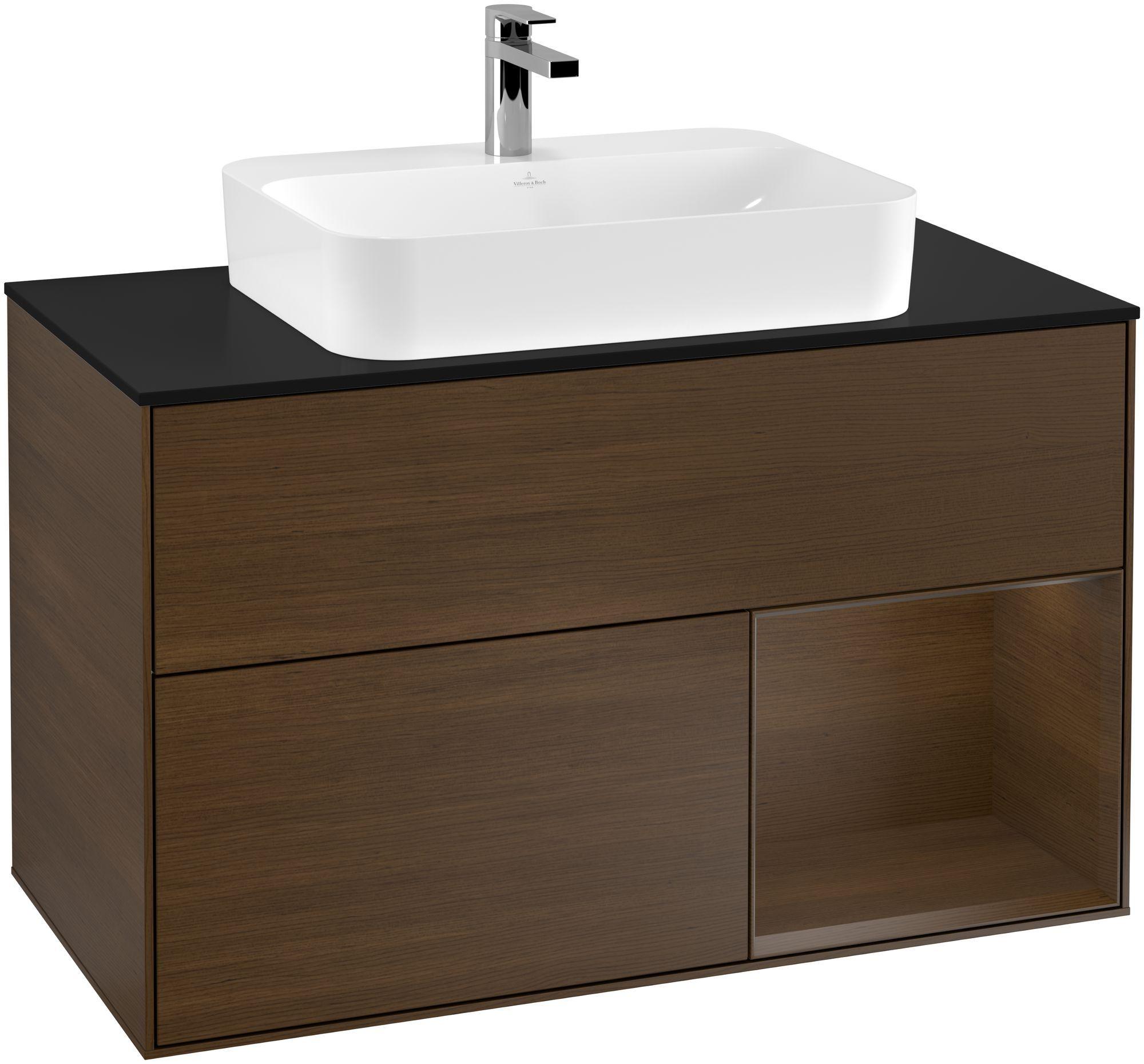 Villeroy & Boch Finion F37 Waschtischunterschrank mit Regalelement 2 Auszüge Waschtisch mittig LED-Beleuchtung B:100xH:60,3xT:50,1cm Front, Korpus: Walnut Veneer, Glasplatte: Black Matt F372GNGN