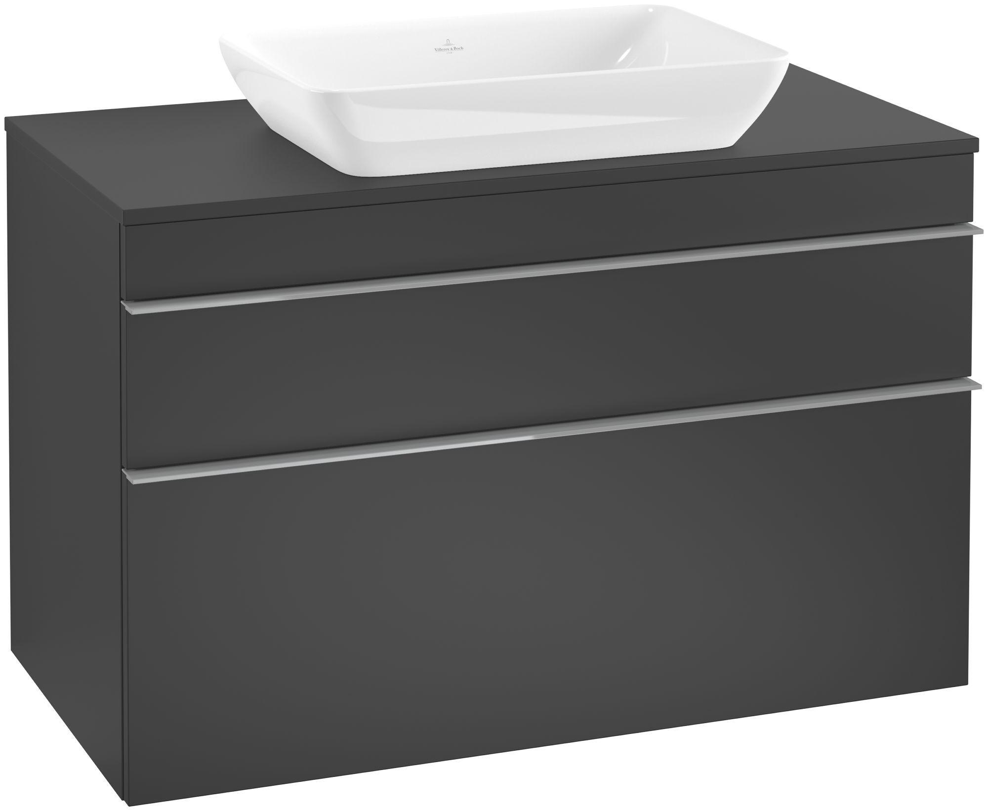Villeroy & Boch Venticello Waschtischunterschrank für Waschtisch mittig 2 Auszüge B:95,7xH:60,6xT:50,2cm black matt lacquer Griffe grey Griffe grau A94103PD