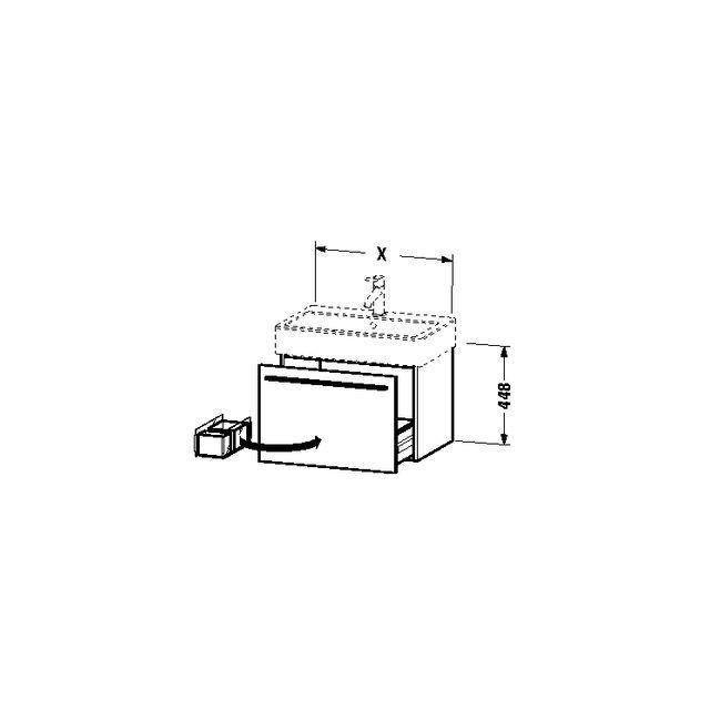 Duravit X-Large Waschtischunterschrank wandhängend B:55xH:44,8xT:44,3 cm mit 1 Auszug schwarz hochglanz XL604404040