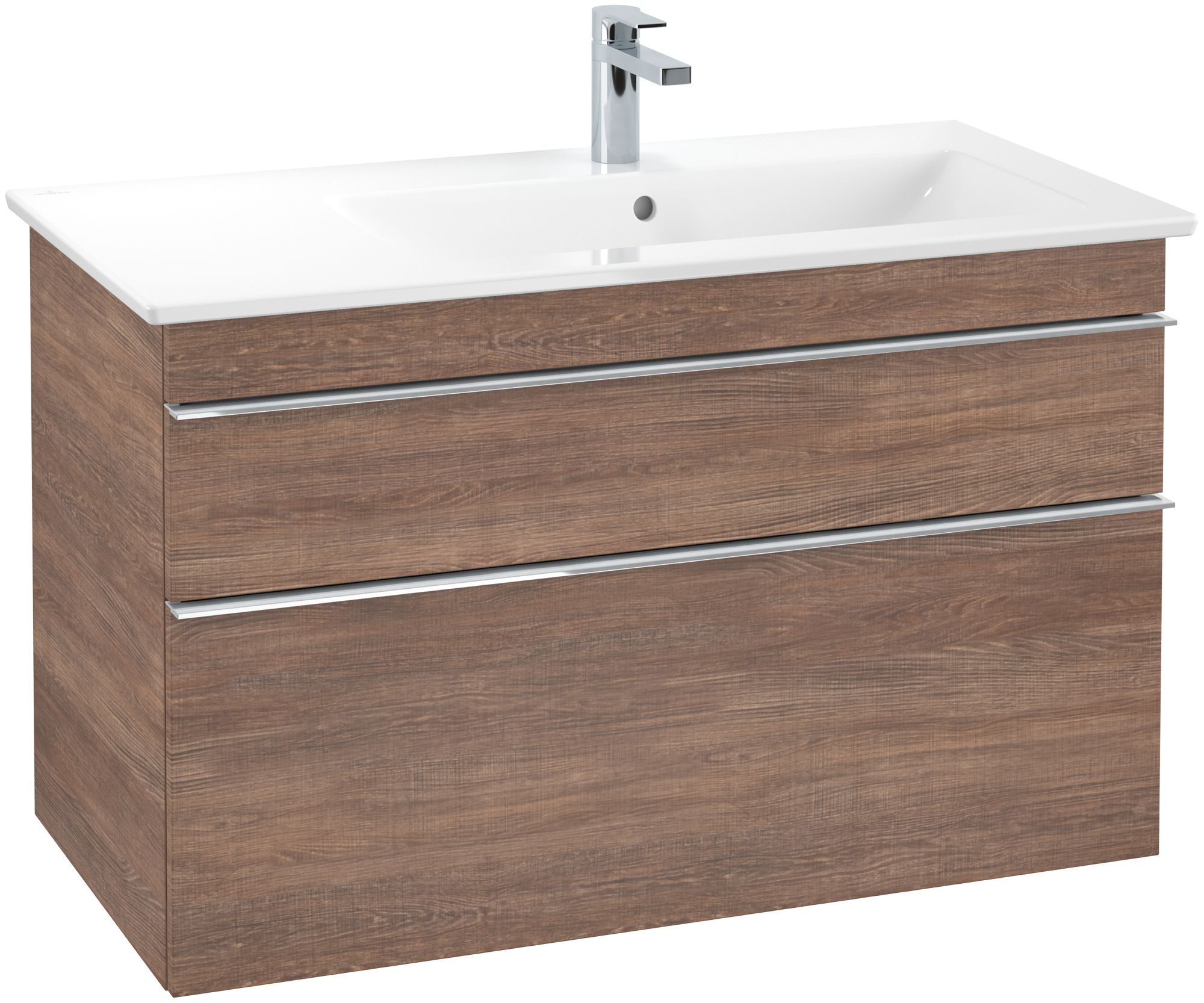 Villeroy & Boch Venticello Waschtischunterschrank 2 Auszüge B:953xT:502xH:590mm santana oak Griffe chrom A92801E1