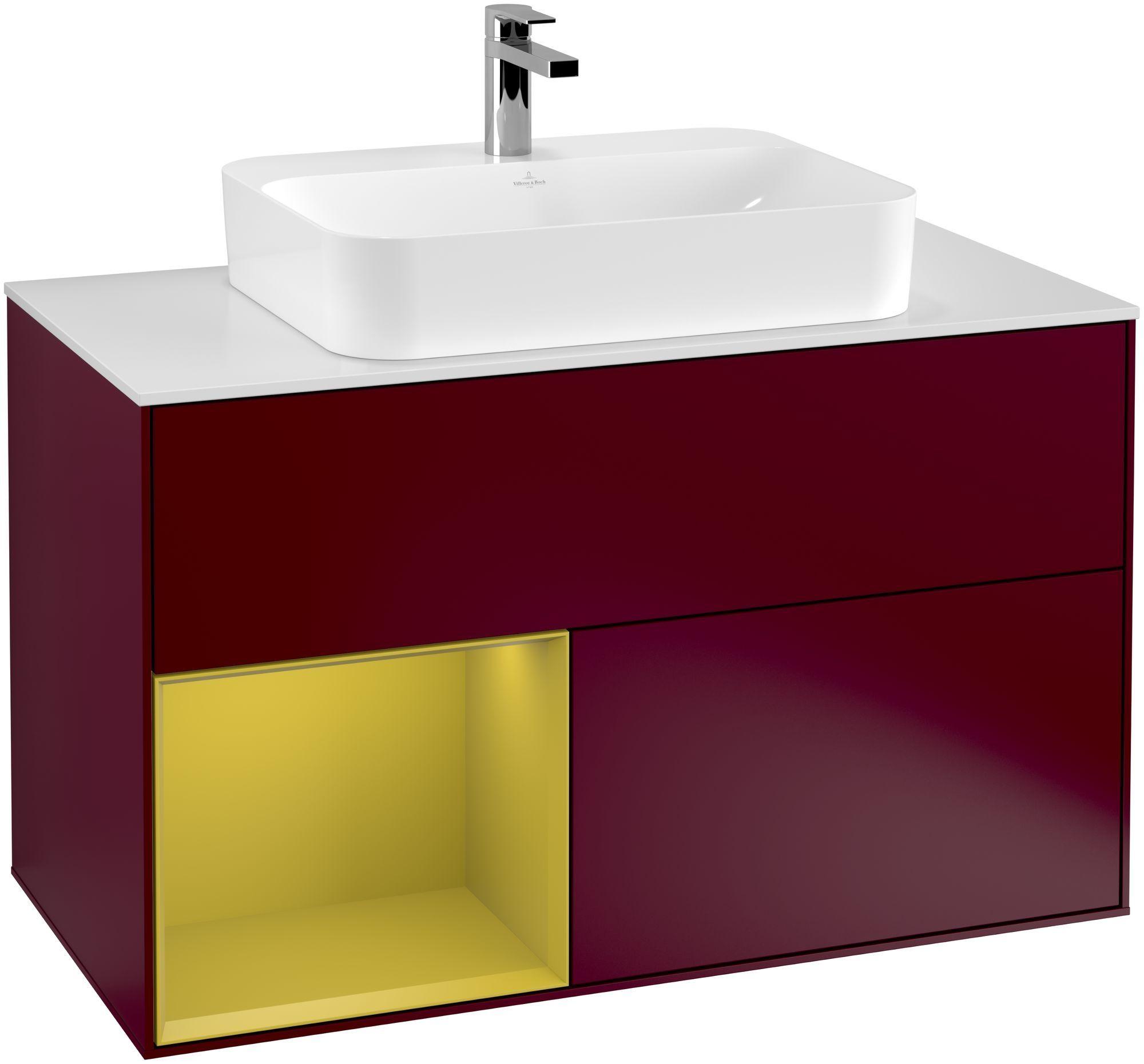 Villeroy & Boch Finion F36 Waschtischunterschrank mit Regalelement 2 Auszüge für WT mittig LED-Beleuchtung B:100xH:60,3xT:50,1cm Front, Korpus: Peony, Regal: Sun, Glasplatte: White Matt F361HEHB