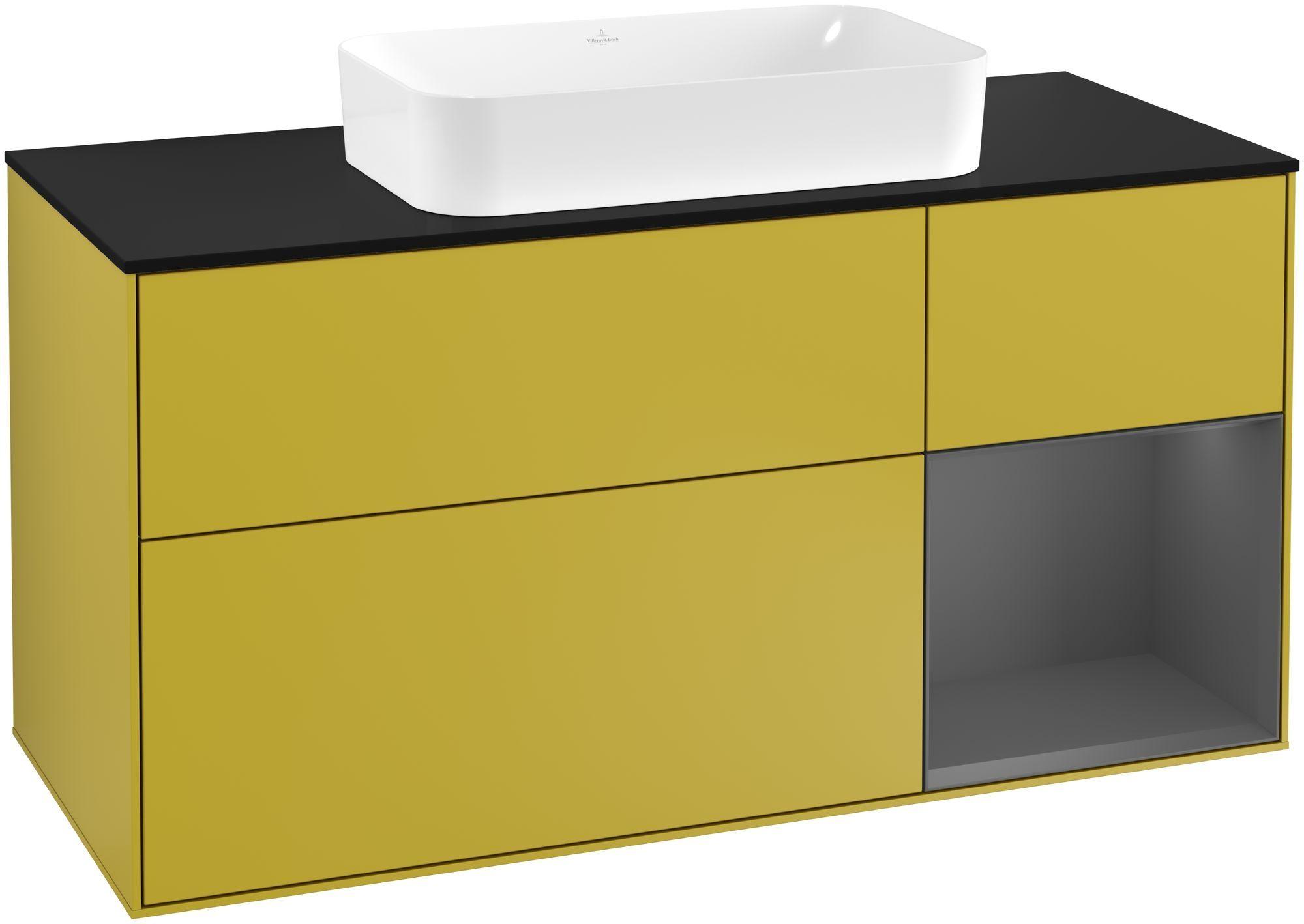 Villeroy & Boch Finion F30 Waschtischunterschrank mit Regalelement 3 Auszüge Waschtisch mittig LED-Beleuchtung B:120xH:60,3xT:50,1cm Front, Korpus: Sun, Regal: Anthracite Matt, Glasplatte: Black Matt F302GKHE