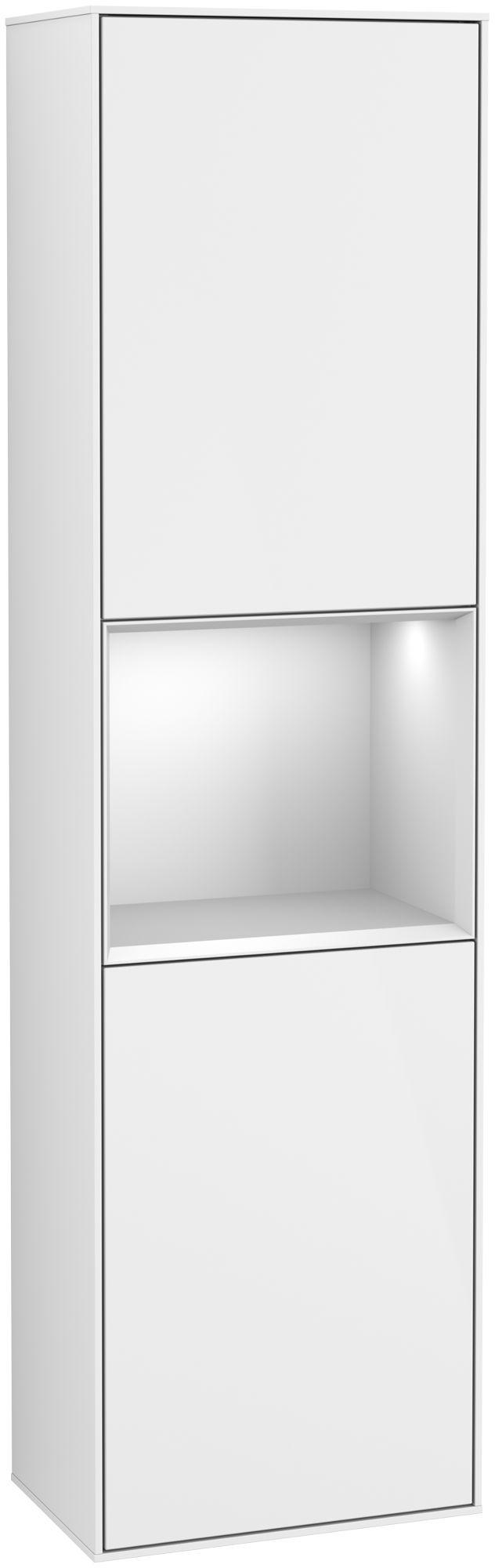 Villeroy & Boch Finion F47 Hochschrank mit Regalelement 2 Türen Anschlag rechts LED-Beleuchtung B:41,8xH:151,6xT:27cm Front, Korpus: Glossy White Lack, Regal: Weiß Matt Soft Grey F470MTGF