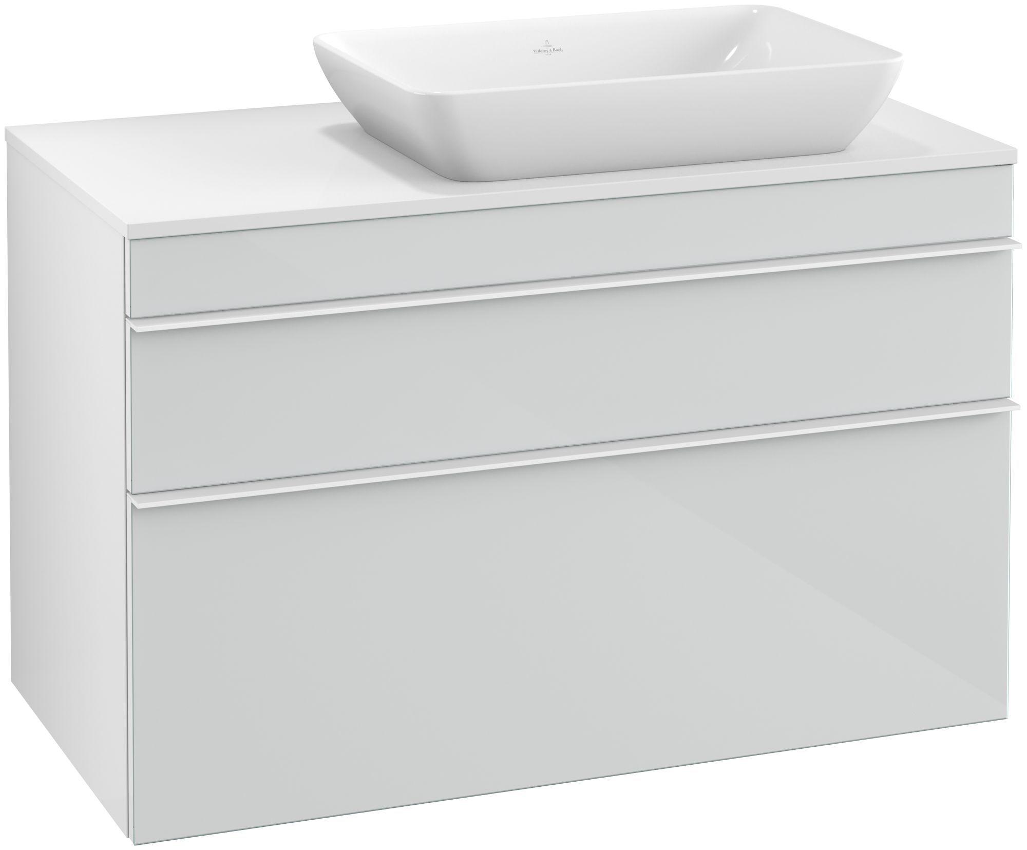 Villeroy & Boch Venticello Waschtischunterschrank für Waschtisch rechts 2 Auszüge B:95,7xH:60,6xT:50,2cm Glas glossy white Griffe white Griffe weiß A94302RE