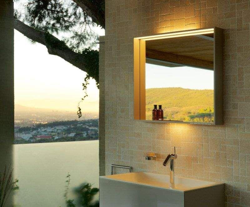 Keuco X-LINE LED-Lichtspiegel warmweiß B:100xH:70xT:10,5 cm cashmere seidenmatt 33296183000