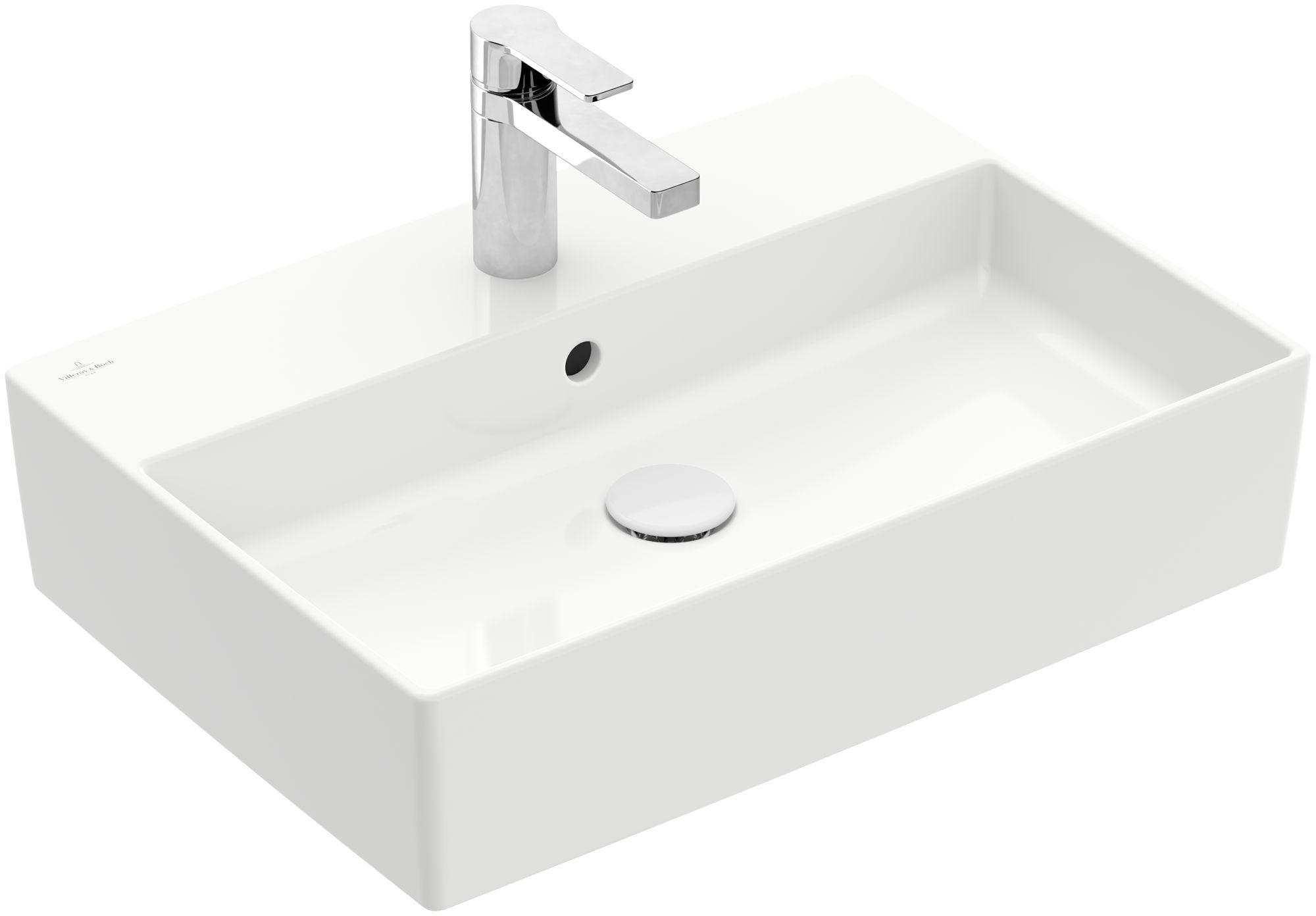 Villeroy & Boch Memento 2.0 Aufsatzwaschtisch mit Überlauf 1 Hahnloch B:60xT:42cm mit Überlauf 1 Hahnloch weiß Ceramicplus 4A0760R1