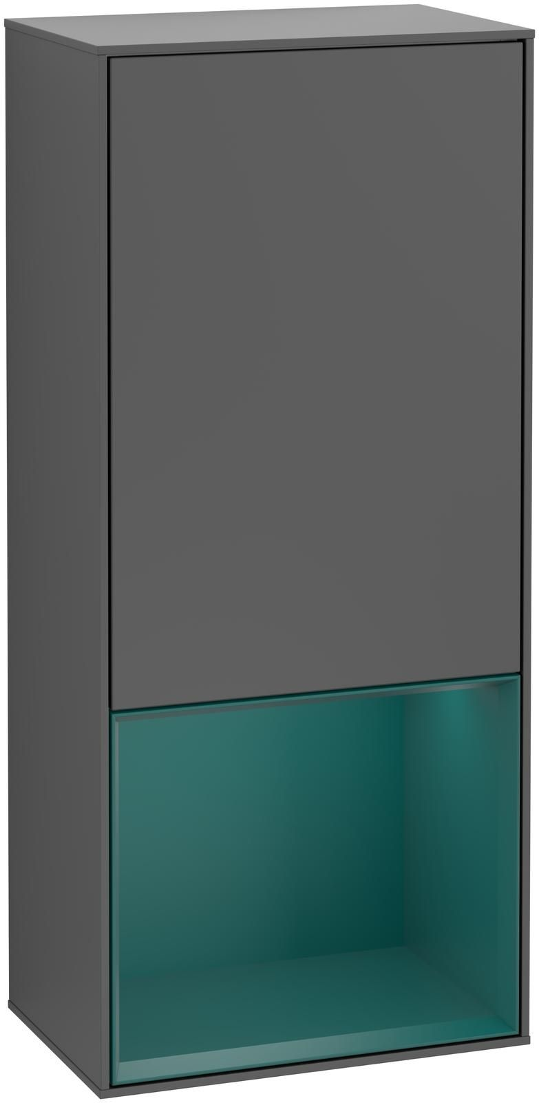 Villeroy & Boch Finion G54 Seitenschrank mit Regalelement 1 Tür Anschlag links LED-Beleuchtung B:41,8xH:93,6xT:27cm Front, Korpus: Anthracite Matt, Regal: Cedar G540GSGK