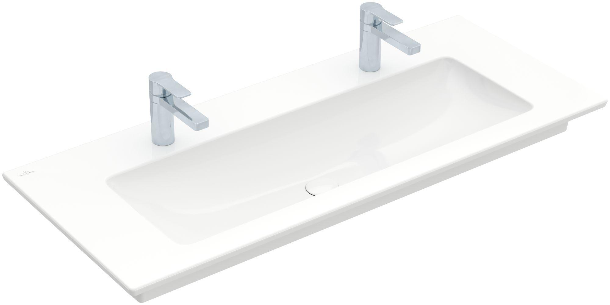 Villeroy & Boch Venticello Möbelwaschtisch B:120xT:50cm 2 Hahnlöcher ohne Überlauf weiß 4104CG01