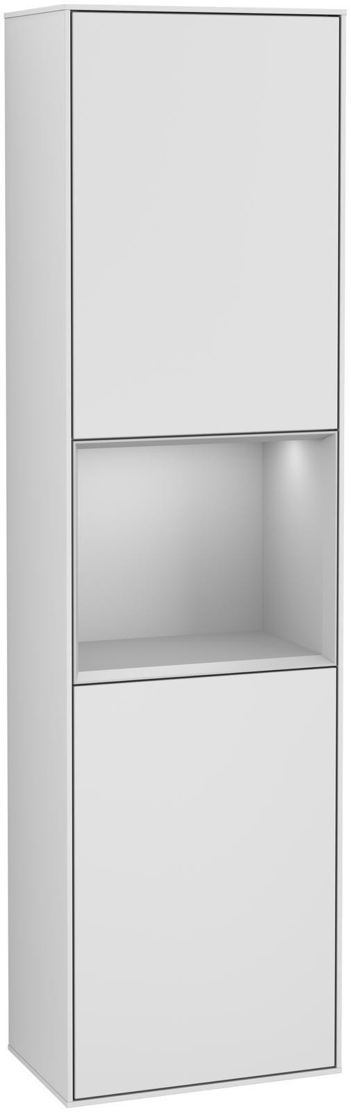 Villeroy & Boch Finion F46 Hochschrank mit Regalelement 2 Türen Anschlag links LED-Beleuchtung B:41,8xH:151,6xT:27cm Front, Korpus: Weiß Matt Soft Grey, Regal: Light Grey Matt F460GJMT