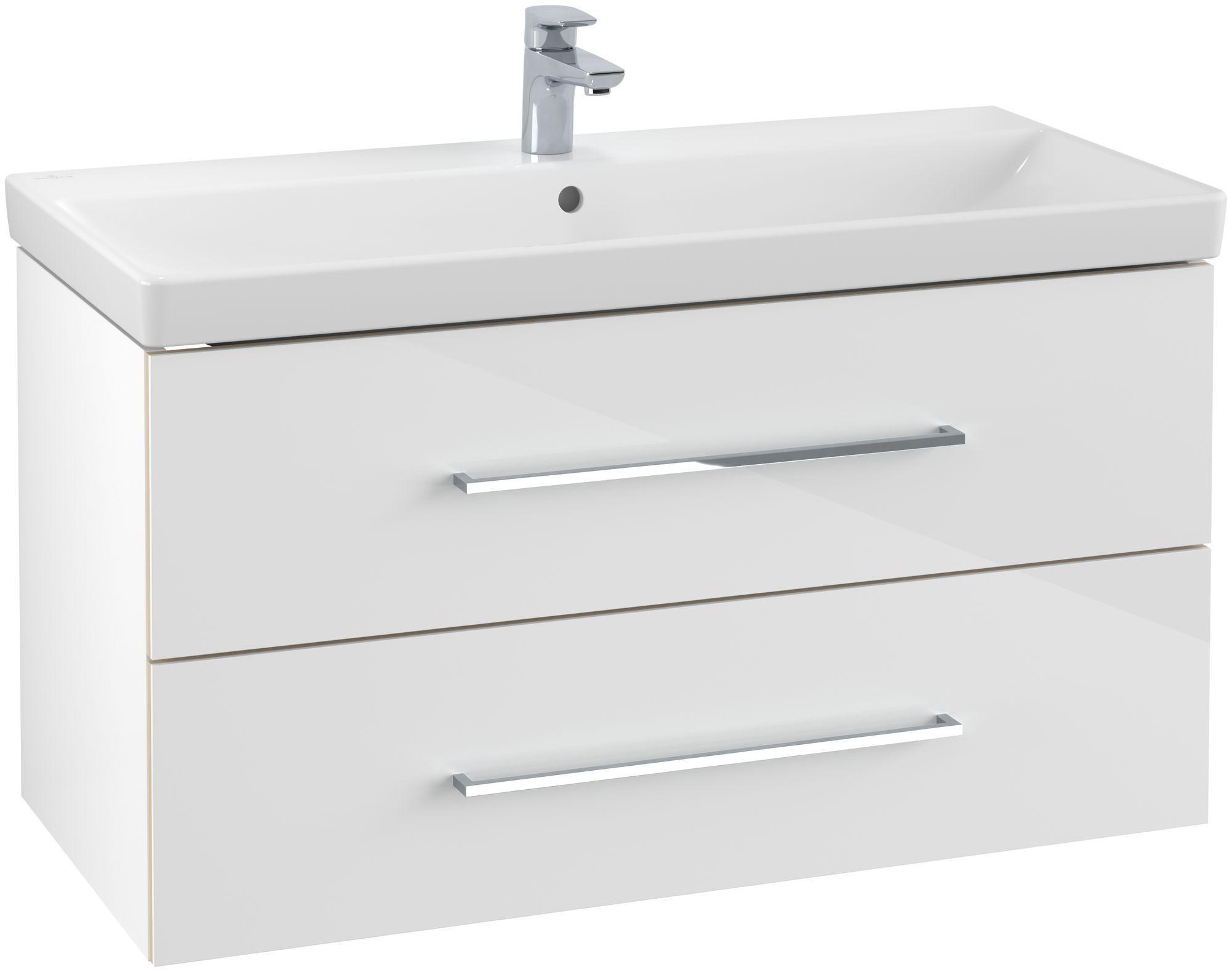 Villeroy & Boch Avento Waschtischunterschrank mit 2 Auszügen B:96,7 x H:52 x T:44,7 cm crystal white A89200B4